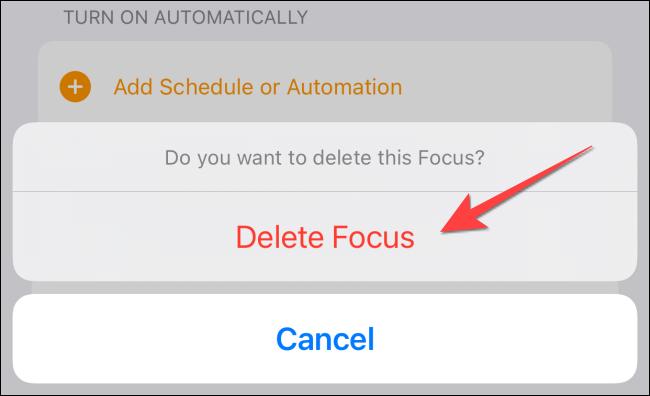 """Selectați """"Ștergeți Focus"""" din nou din fereastra pop-up de confirmare."""