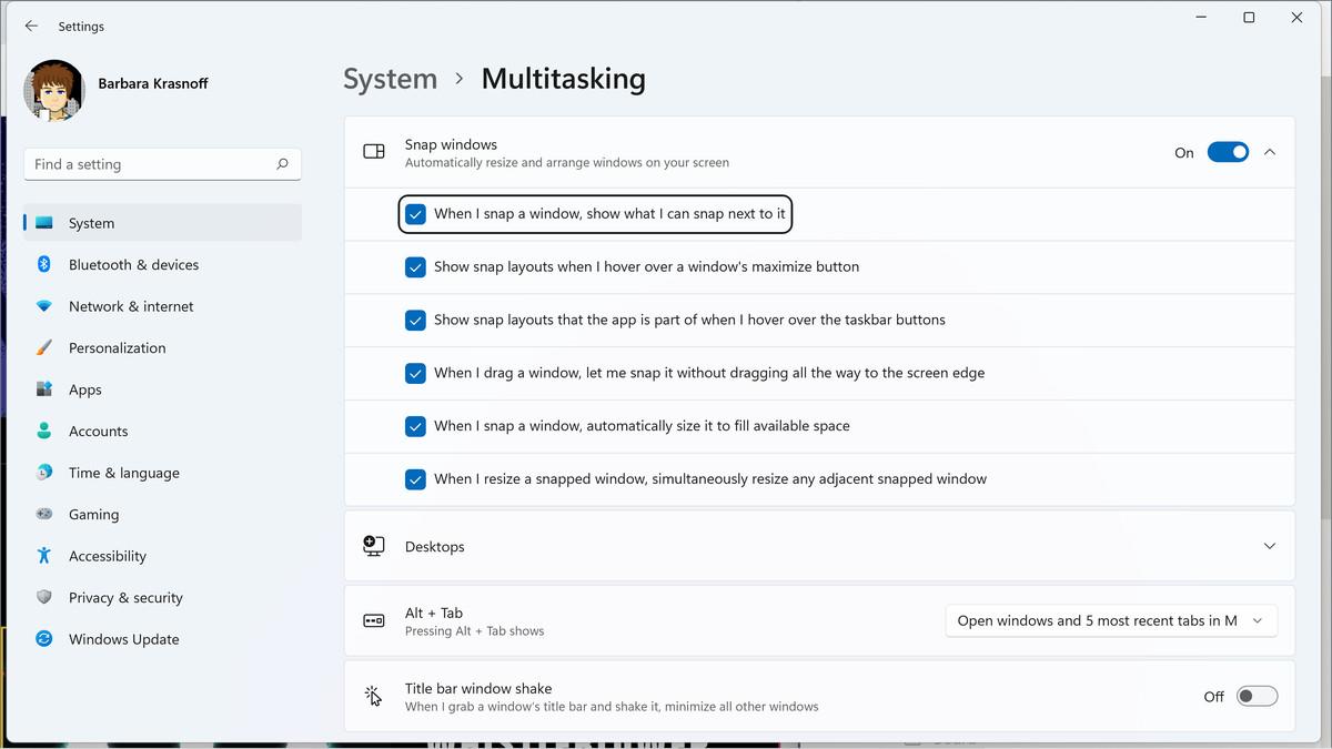 Accesați secțiunea multitasking din configurația dvs. pentru a modifica caracteristicile de aspectare instantanee.