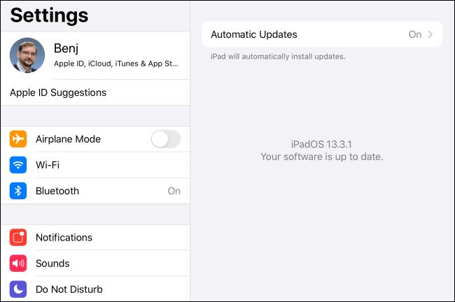 Mesajul actualizat al software-ului în iPadOS.