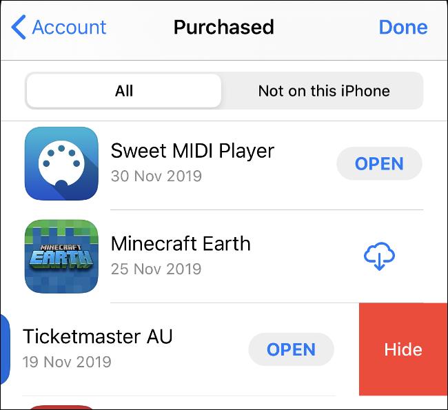 """The """"Cumparat"""" ecran în App Store."""