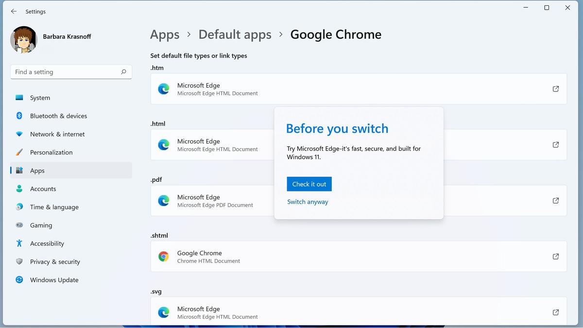 Când faceți clic pentru prima dată pe un tip de fișier, Windows poate încerca să descurajeze orice modificare.