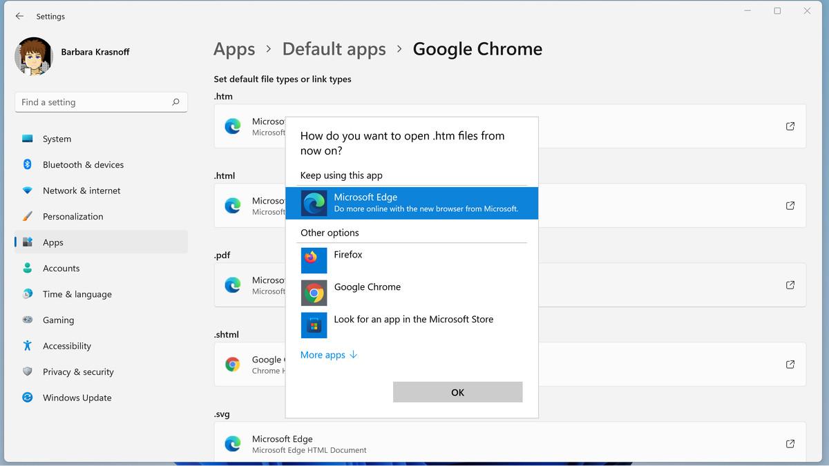 Puteți schimba fiecare tip de fișier pentru o aplicație instalată corespunzătoare.