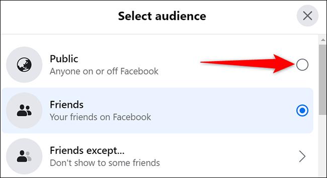 """Selectați """"Public"""" în """"Selectați Public"""" fereastra de pe Facebook."""