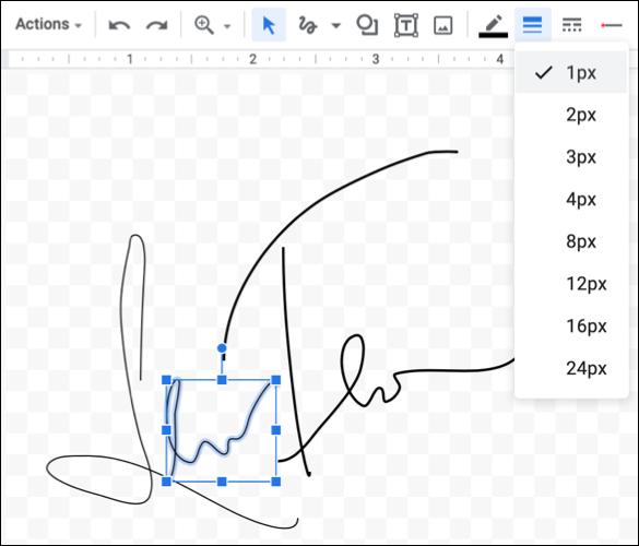 Reglați lățimea liniei pentru semnătură