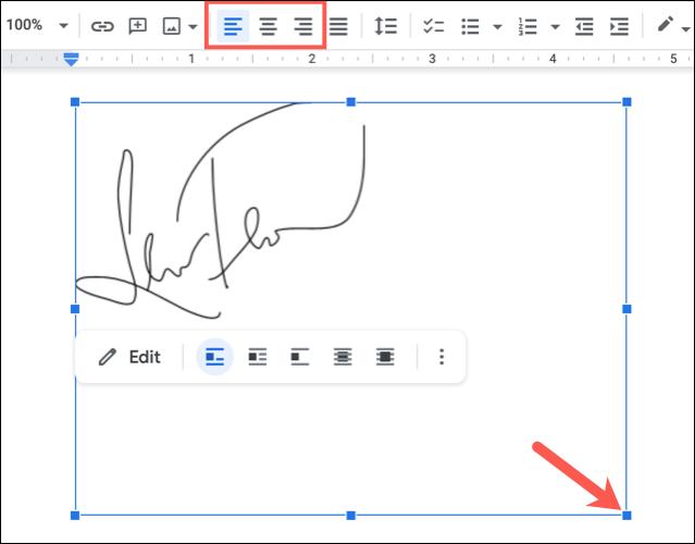 Redimensionați sau aliniați imaginea semnăturii