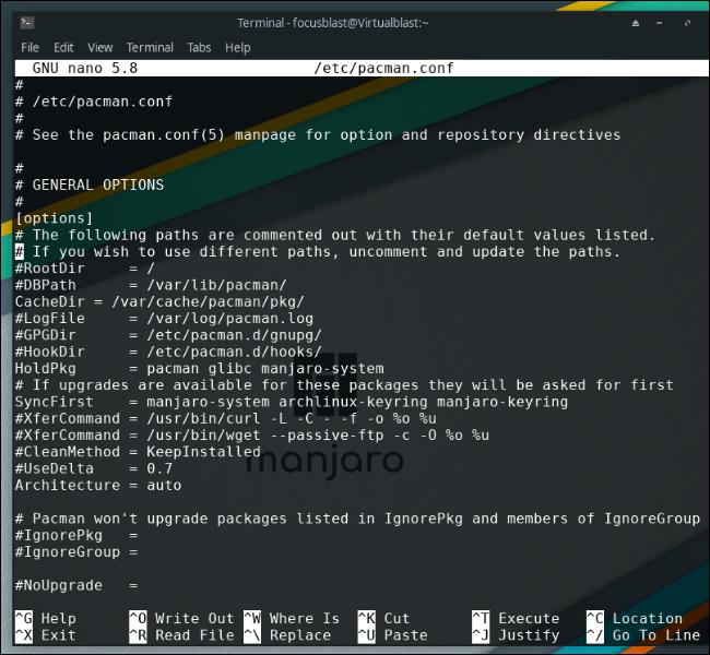 fișier de configurare pacman în manjaro linux