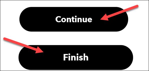 """Clic """"Continua"""" și """"Finalizarea."""""""
