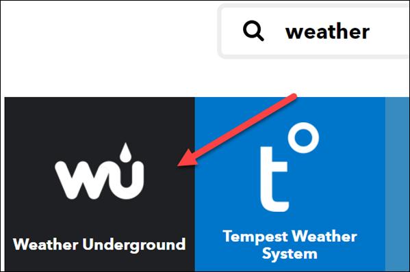 "Selectați ""Weather Underground."""