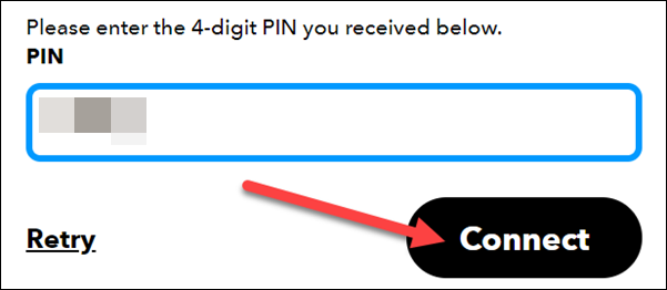 """Clic """"Conectați"""" după introducerea codului PIN."""