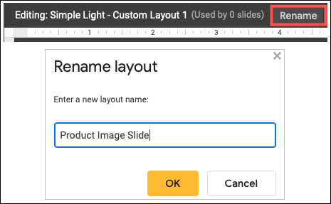 Faceți clic pentru a redenumi diapozitivul de imagine personalizat