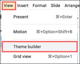 Faceți clic pe View, Theme Builder