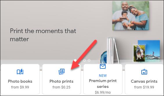 """Selectați """"Imprimări foto."""""""