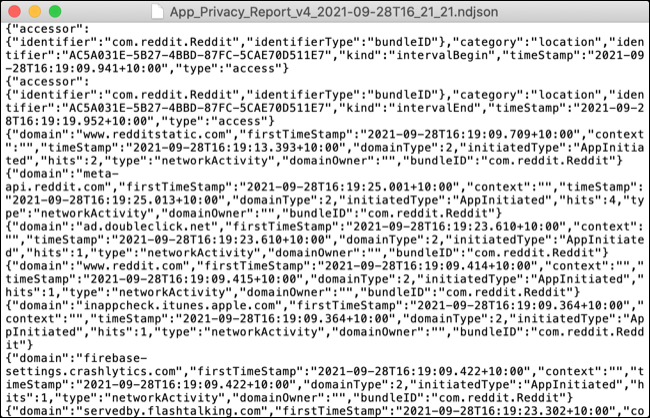 Raport de activitate al aplicației în format de date brute NDJSON